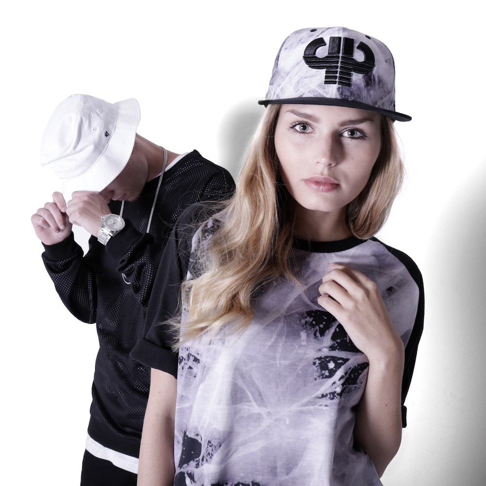 Girl Outfit: Thin Ice Snapback x Crack Game Ringer T-Shirt, Boy Outfit: Undercover Crewneck