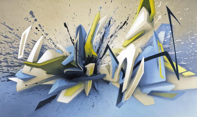 """Mirko Reisser (DAIM)    """"DEIM - cold mountain view""""   Spraypaint on canvas   140 x 240 x 4,5 cm / 55.1"""" x 94.5"""" x 1.8""""   2005"""