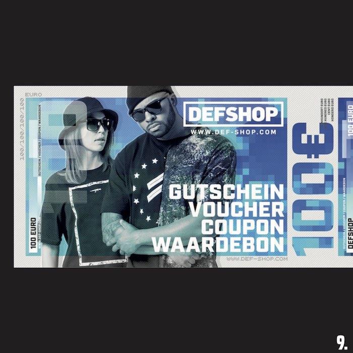 9. 2x Einkaufsgutscheine von DefShop im Wert von 100 Euro