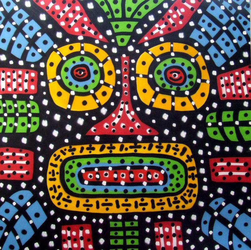 OZ. Die Maske à la Afrika, 2012, Sprühfarbe auf Leinwand, verso signiert,  200 x 200cm