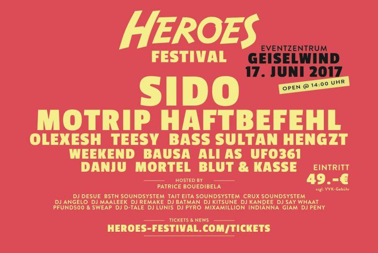 Haftbefehl, Ufo361, Sido u.v.m. kommen zum Heroes Festival // Live